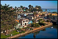Houses bordering Soquel Creek from above. Capitola, California, USA
