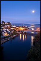 Moon rising over Soquel Creek and Ocean. Capitola, California, USA (color)