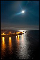Moon and fishing pier by night. Capitola, California, USA ( color)