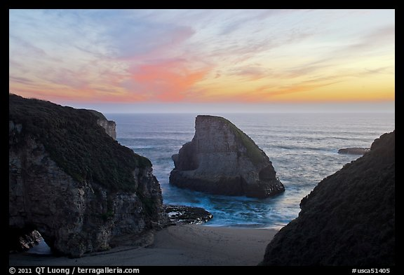 Offshore rock at sunset, Davenport. California, USA (color)