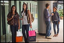 Shoppers and students, Stanford Shopping Center. Stanford University, California, USA ( color)