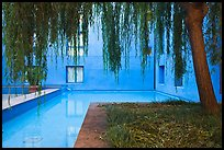 Ricardo Legorreta-designed blue courtyard, Schwab Residential Center. Stanford University, California, USA (color)