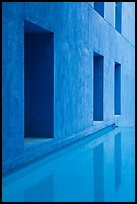 Blue walls and reflections, Schwab Residential Center. Stanford University, California, USA (color)