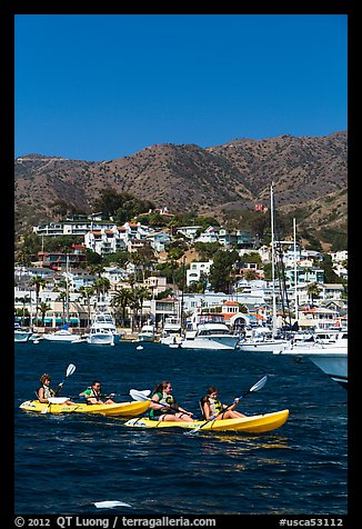 Sea kayaking in Avalon harbor, Catalina Island. California, USA (color)