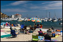 Beach and harbor, Avalon, Catalina Island. California, USA (color)
