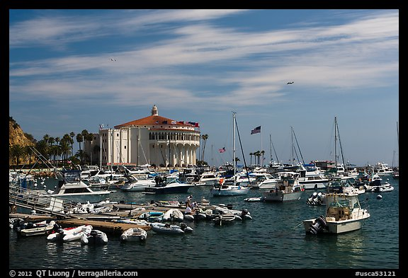 Harbor and casino, Avalon Bay, Santa Catalina Island. California, USA (color)