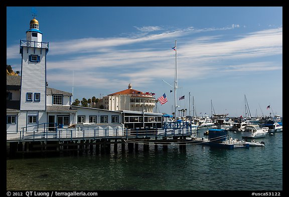 Yacht club and casino, Avalon, Catalina Island. California, USA (color)