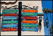 Signs pointing to local businesses, Avalon Bay, Catalina. California, USA ( color)