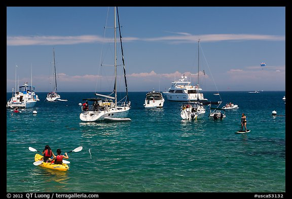 Recreational activities on water, Avalon, Santa Catalina Island. California, USA (color)