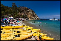 Descanson beach and sea kayaks, Avalon, Santa Catalina Island. California, USA (color)
