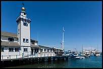 Yacht club tower and harbor, Avalon, Santa Catalina Island. California, USA (color)