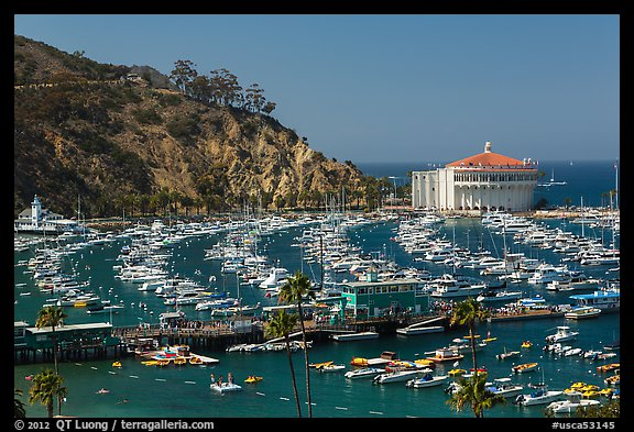 Pier and Catalina Casino, Avalon Bay, Santa Catalina Island. California, USA (color)