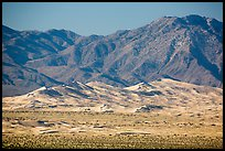Distant view of Kelso Sand Dunes and Granite Mountains. Mojave National Preserve, California, USA ( color)