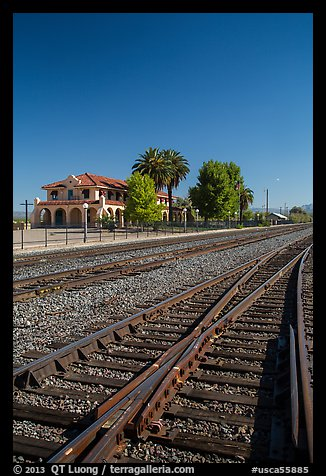 Railroad tracks and siding of Kelso. Mojave National Preserve, California, USA (color)