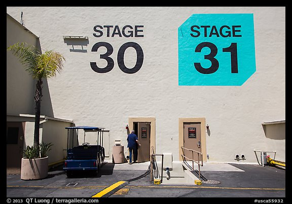 Man entering soundstage, Paramount Pictures Studios lot. Hollywood, Los Angeles, California, USA (color)