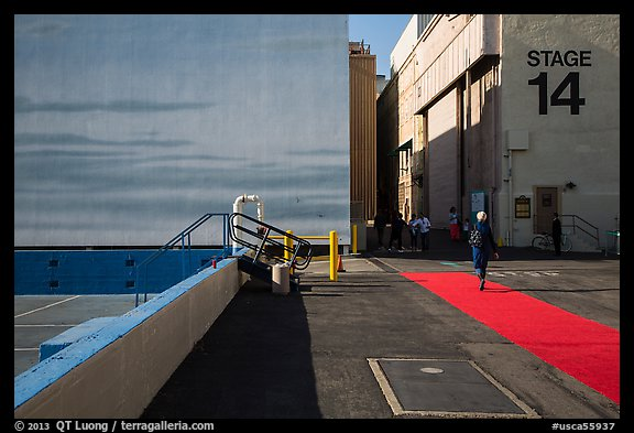 Red carpet and Blue Sky Tank, Paramount Pictures Studios. Hollywood, Los Angeles, California, USA (color)