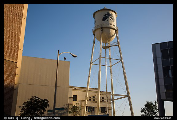 Water tower, old and new buildings, Studios at Paramount. Hollywood, Los Angeles, California, USA (color)
