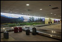 Baggage claim area and Yosemite murals, Fresno Yosemite Airport. California, USA ( color)