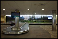 Baggage claim area and Tuolumne Meadows mural, Fresno Yosemite Airport. California, USA ( color)