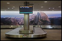 Baggage claim area and Half-Dome mural, Fresno Yosemite Airport. California, USA ( color)