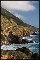 Highway snaking above the ocean. Big Sur, California, USA ( color)