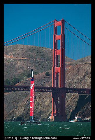 New Zealand Challenger America's cup boats and Golden Gate Bridge. San Francisco, California, USA (color)