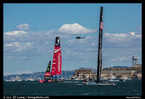 USA boat gaining on New Zealand boat during upwind leg of America's cup decisive race. San Francisco, California, USA (color)