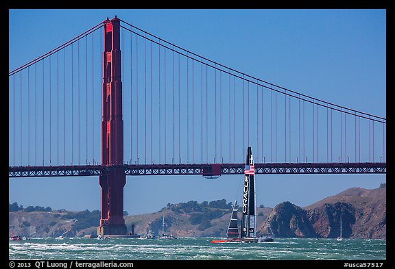 Oracle Team USA boat in front of Golden Gate Bridge during Sept 25 final race. San Francisco, California, USA (color)