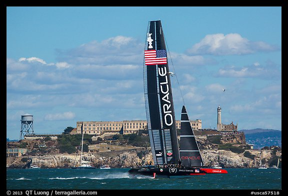 Oracle Team USA 17 boat sails to victory in front of Alcatraz during winner-take-all race. San Francisco, California, USA (color)