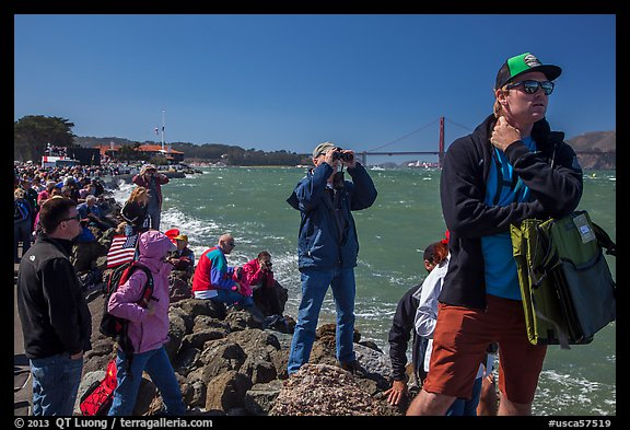 Spectators following America's Cup decisive race from shore. San Francisco, California, USA (color)