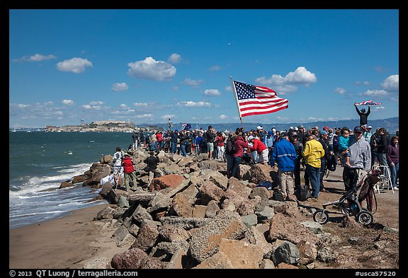Spectators cheering during America's Cup decisive race. San Francisco, California, USA (color)