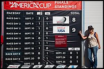 Woman with patriotic gear standing next to final scoreboard. San Francisco, California, USA (color)