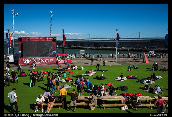 Synthetic lawn and giant screen, America's Cup Park. San Francisco, California, USA (color)