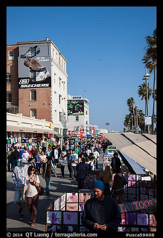 Crowded Ocean Front Walk in summer. Venice, Los Angeles, California, USA (color)