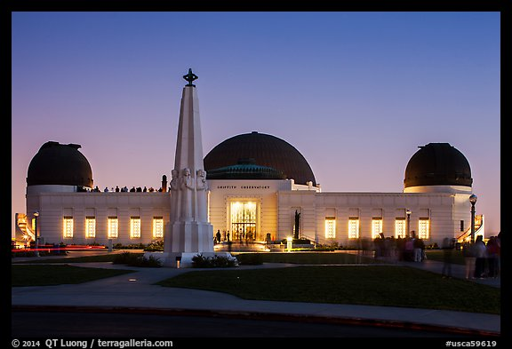 Griffith Observatory at dusk. Los Angeles, California, USA (color)