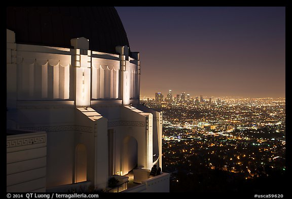 Griffith Observatory and downtown skyline at night. Los Angeles, California, USA (color)