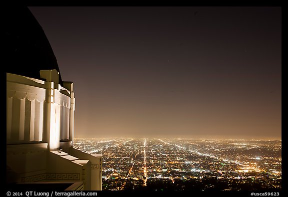 Griffith Observatory and street lights at night. Los Angeles, California, USA (color)