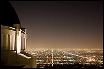 Griffith Observatory and street lights at night. Los Angeles, California, USA ( color)