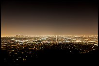 Lights of street grid and downtown at night from Griffith Park. Los Angeles, California, USA ( color)