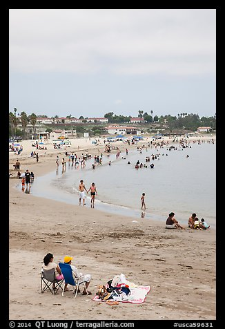 Beach on cloudy day, San Pedro. Los Angeles, California, USA (color)