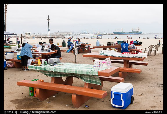 Picnic tables on beach, San Pedro. Los Angeles, California, USA (color)