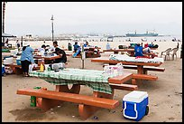 Picnic tables on beach, San Pedro. Los Angeles, California, USA ( color)