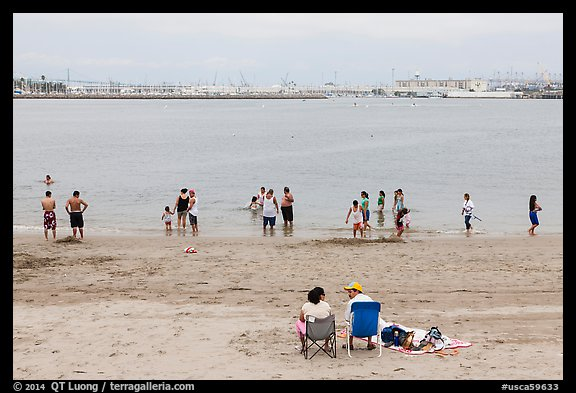 Cabrillo Beach and Long Island Harbor, San Pedro. Los Angeles, California, USA (color)
