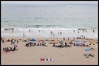 Beachgoers from above, Redondo Beach. Los Angeles, California, USA ( color)