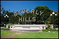 Berverly Hills sign in park. Beverly Hills, Los Angeles, California, USA ( color)