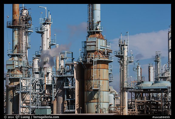 Oil refinery, Manhattan Beach. Los Angeles, California, USA (color)