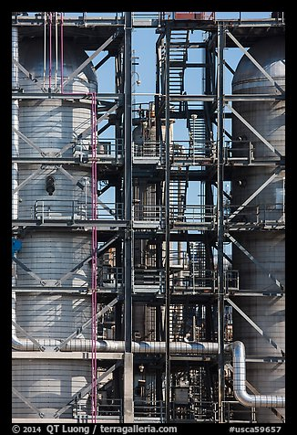 Detail of stairs and process unit in oil refinery, Manhattan Beach. Los Angeles, California, USA (color)
