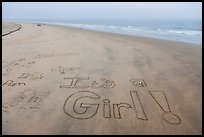 Words written in sand on beach. Newport Beach, Orange County, California, USA ( color)
