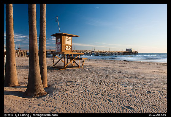 Lifeguard tower, empty beach, and Newport Pier. Newport Beach, Orange County, California, USA (color)