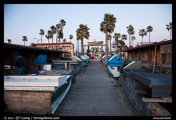 Dory Fishing Fleet market. Newport Beach, Orange County, California, USA (color)